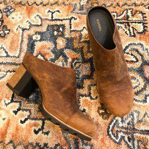 Sorel Leather Addington Mule Stacked Heel Booties